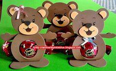 Pinkie Blue Artigos para festa: Porta-bombom ursinho marrom rosa e marrom e azul (eva)