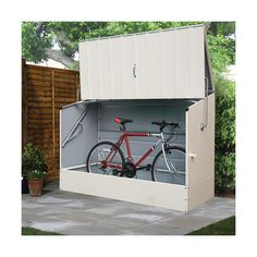 Trimetals Cream Outdoor Heavy Duty Steel Bicycle Storage Locker ($1,518) ❤  Liked On Polyvore Featuring Home, Outdoors, Beige, Outside Bike Storage Shed,  ...