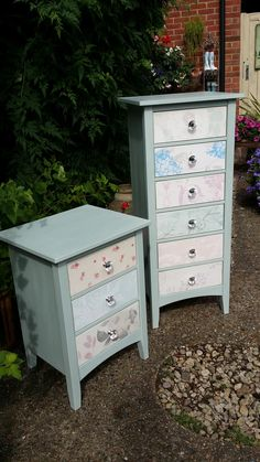 Drawer sets in Annie Sloan custom mix of Old White and Provence with wallpaper fronts and linings . . . if you like this you'll love