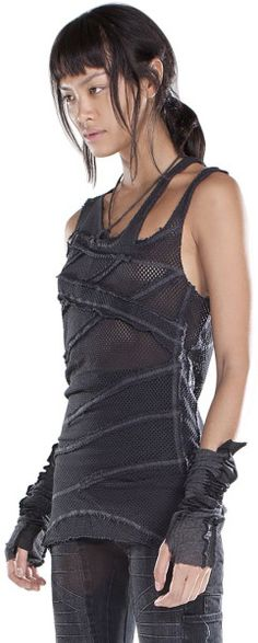 Demobaza Asymmetric Fit Net Tank Top in Gray (GREY) - Lyst