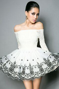 Open Shoulder Flower Embellished Mini Dress OASAP.com