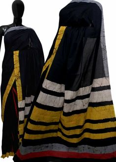 Handblock printed mul mul cotton sarees with blouse piece