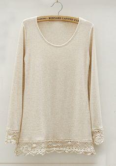 Beige Long Sleeve Contrast Hollow Lace T-shirt - Sheinside.com