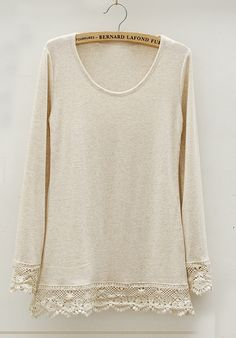 Beige Long Sleeve Contrast Hollow Lace T-shirt - Sheinside.com