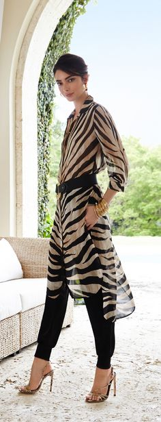 Chico's Black Label Dramatic Animal Tunic. Take it easy in a wildly breezy…