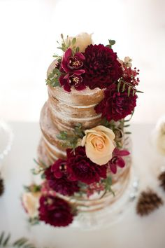 Naked Cake with Burgundy and Ivory Dahlias | Ashley Cook Photography | Jewel Toned Autumn Woodland Wedding Shoot