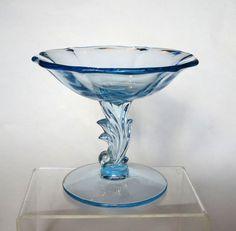 Fostoria Baroque Azure Blue Depression by cheshirecatantiques
