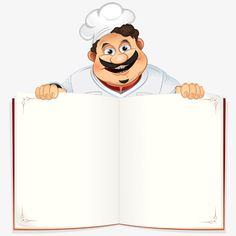 Funny Chef with Blank Cookbook, Menu or Notepad, Vector Illustration Cartoon Chef, Cartoon Man, Cartoon Memes, Cartoon Characters, Food Poster Design, Food Menu Design, Food Packaging Design, Blank Cookbook, Chef Logo