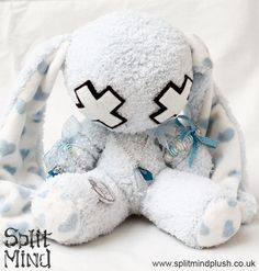 Split Mind Plush Blue Heart Bunny