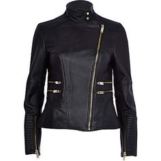 Black leather turtle neck biker jacket �150.00