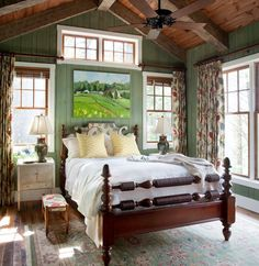 Lakehouse master bedroom - Kathryn Greeley design. I really like the natural timber window panes with painted timber framing