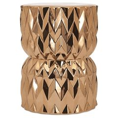 Limited Production Design & Stock: Glamorous Gold Geometric Ceramic Stool / Side Table * 20 x 15 inches