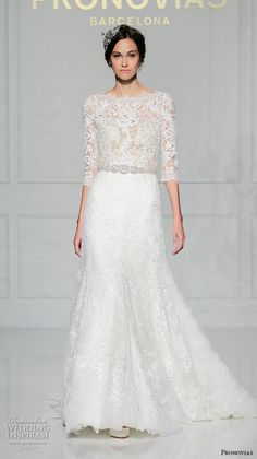 pronovias 2016 bridal gowns bateau neckline 3 quarter sleeves lace embroidered sheer bodice modifed a  line wedding dress style timy