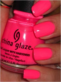 China Glaze Shocking Pink - If you love all things pink, you just can't do without this neon pink nail polish. Shocking Pink is a bright pink in a creme finish. The colour dries to a semi matte finish so you might need to apply a layer of topcoat. Requires three coats.