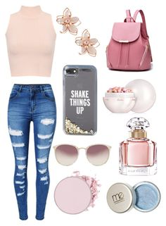 """""""Rose gold"""" by madisonbj17 ❤ liked on Polyvore featuring WearAll, WithChic, NAKAMOL, Kate Spade, Linda Farrow and Guerlain"""