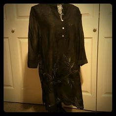 Coldwater Creek Black Tunic Beautiful black on black silver detailed stitching  mother of pearl buttons slight ruched back. Coldwater Creek Tops Tunics