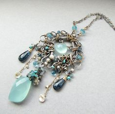 Sterling silver and gold necklace, blue gemstones and pearls