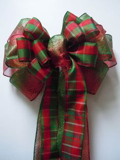 Red Green Ombre Tartan Christmas Wreath Bow By SimplyAdornmentsss
