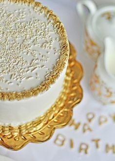 Gold Embellished Birthday Cake