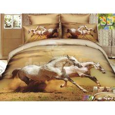 Svetlohnedé bavlnené posteľné prádlo s motívom bežiacich koní