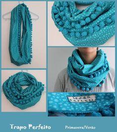 Gola patchwork duas voltas ou lenço azul, maravilhosa