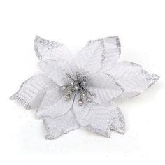 #0018 10pcs 13cm Flannel Artificial Flowers Merry Christmas Tree Ornament