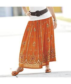 Embellished Skirt  from Monroe and Main. www.monroeandmain.com   Gauzy rayon crepe with sequins. Wide elastic/drawstring waistband.