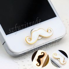 3D Mustache Home Button Sticker Decal For Apple iPhone 4 4S 5 5C iPad Mini iPod