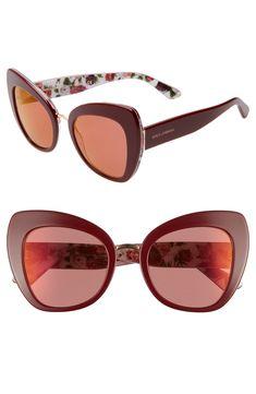 e9225d39e0ba1 Women s Dolce gabbana 51Mm Mirrored Cat Eye Sunglasses - Purple  Red Mirror