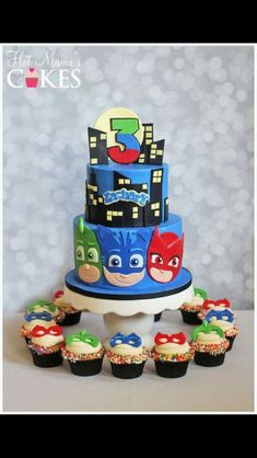 PJ Masks Cake with Cupcakes Pj Mask Cupcakes, Cupcake Cakes, Pj Masks Cakes, Torta Pj Mask, Pjmask Party, Party Ideas, Fun Ideas, Party Summer, Party Drinks