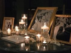 Guest book with Candles and Photos and Rose Petals! Lovely!