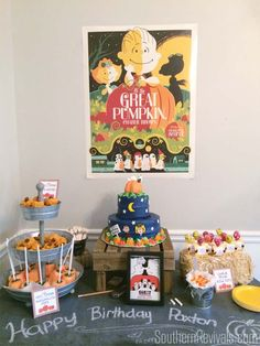 The Great Pumpkin Charlie Brown Birthday Party #CharlieBrown #Fall #BirthdayParty SouthernRevivals.com