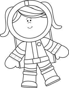 Black and White Girl Astronaut Floating Clip Art - Black and White Girl…