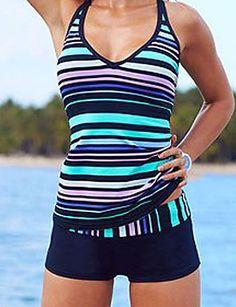 b4530e9517 [$17.99] Women's Plus Size Sporty Halter Neck Blue Boy Leg Tankini Swimwear  - Striped Print XL XXL XXXL Blue