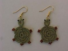 Free Tatted Tortise Earing Pattern - Tatting supplies including shuttles, thread, needles and more by Handy Hands Tatting