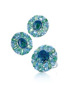Tiffany & Co. black opal earrings and ring from the Blue Book collection with green tourmalines and aquamarines in platinum