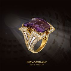"""Ring """"Ancient"""" The ring with the purple amethyst on the order of a Roman signet conveys at once its classical ancient style assignment. Laconism, symmetry and stern luxury are the fundamental constituents of ancient art which survived their epoch many centuries."""