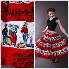 Vintage 1950s Skirt - Fantastic Mexican Cotton Novelty Print Full Circle Skirt