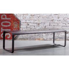 antiqued sheet metal bench