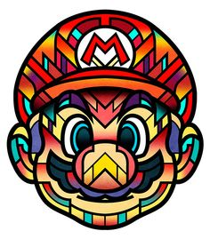 Mario by Van Orton Design Art Pop, Mario Tattoo, Geeks, Nintendo Characters, Mario And Luigi, Super Mario Bros, Game Art, Artwork, Art Drawings