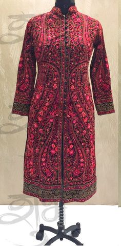 Buy SE 1081 : Pink Red Kashmiri Hand Embroidered Designer Straight Suit