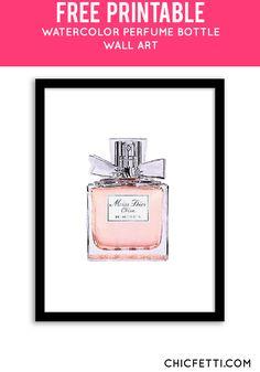 Free Printable DIor Perfume Bottle Art from @chicfetti - easy wall art DIY