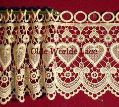 """Hearts Lace Curtain Valances and Tiers come in 9 1/2"""" and 16 1/2"""" lengths as wide as you wish.  Pricing starts at $7.95 per foot of width."""