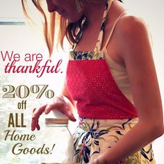 """Use the discount code """"Thankful Hearts"""" from Nov 26 - Nov 30th and get 20% off all Home Goods!  www.ImagineGoods.com #survivormade #ethicallymade #kitchendecor #aprons #tablecloth"""