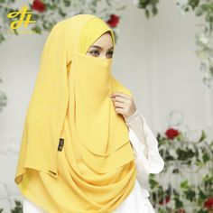 Hijab Niqab Letizia Lux in Yellow Niqab Fashion, Muslim Fashion, Fashion Outfits, Hijab Niqab, Muslim Hijab, Beautiful Muslim Women, Beautiful Hijab, Hijab Collection, Muslim Beauty