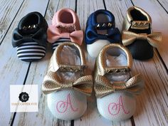 Baby Moccasins, Crib Shoes, metallic baby moccasins, Monogram available by TheCopperFoxBoutique on Etsy