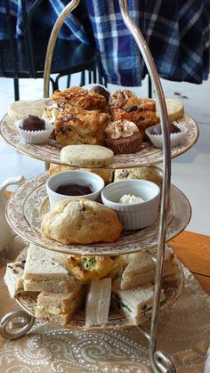 Afternoon Tea Set by leftylaney, via Flickr Nice idea for using a three tier serving tray.