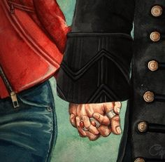 Captain Swan forever - though the third ring should be on his ring finger, not his middle finger!