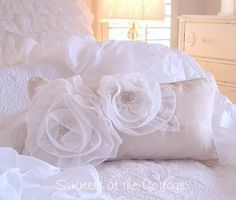 frilly throw pillows | Summer Bedding Shabby Cottage Chic Accent Decorative Throw Pillows