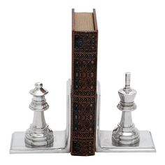 Chess King & Queen Bookends 2-piece Set, Grey